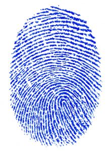 Blue ink fingerprint on a white background
