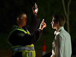 Man Doing Sobriety Test on Student - Drunken Driving