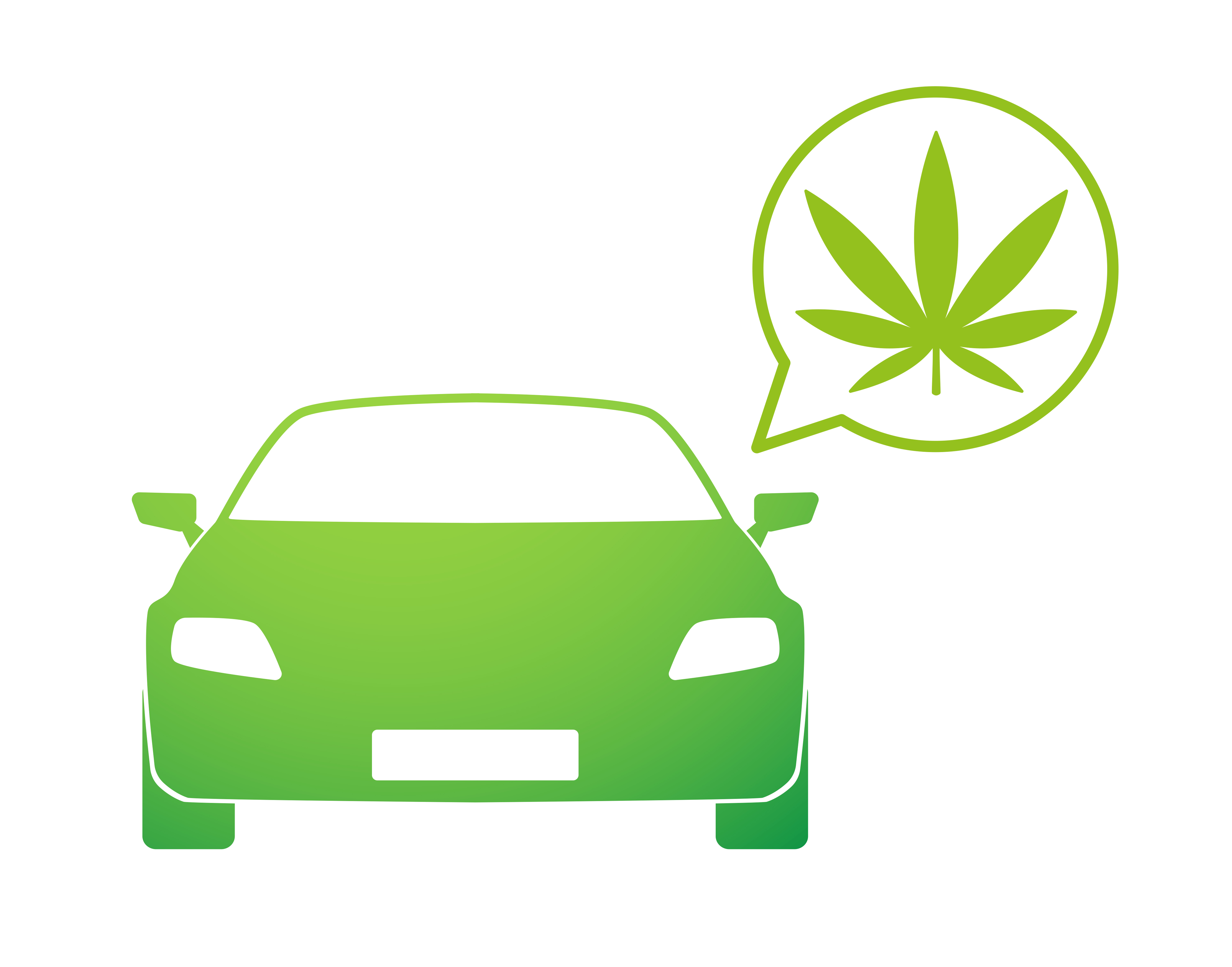 Illustration of a green car with a thought bubble that has a marijuana leaf in it