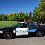 Police car parked near a tree in front of green grass with a blue sky