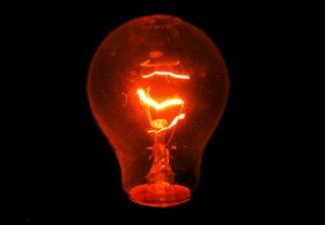 image of glowing light bulb.