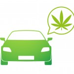 Green car illustration with a marijuana leaf in a thought bubble