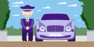 Illustration of a driver in a purple uniform next to a purple car