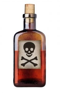image of Poison bottle with skull and cross-bones warning sign in label