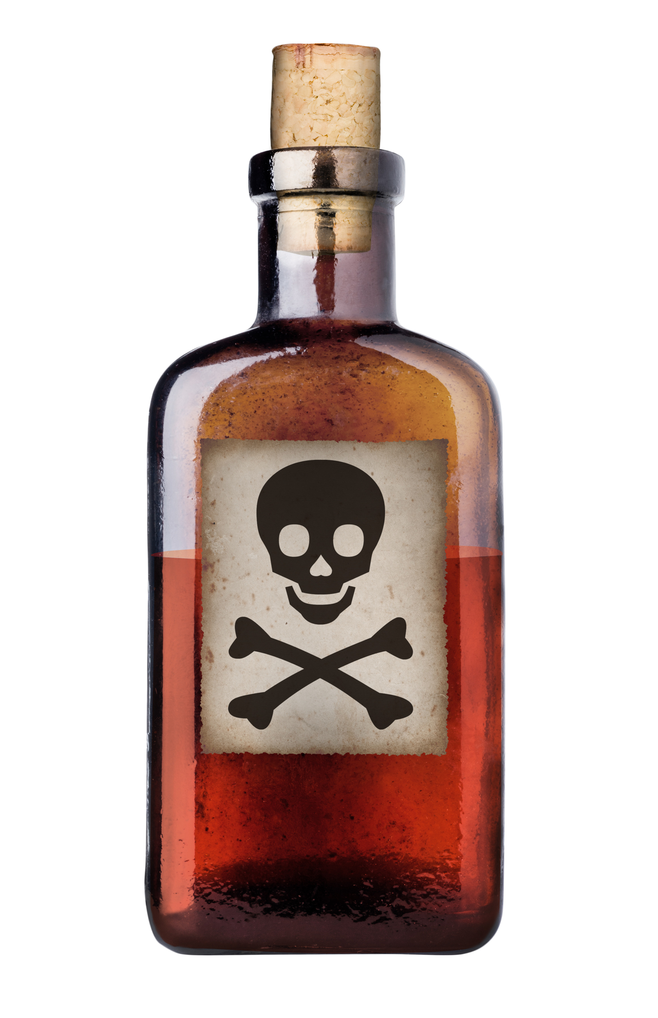 image of Poison bottle with skull and cross-bones warning sign in label.