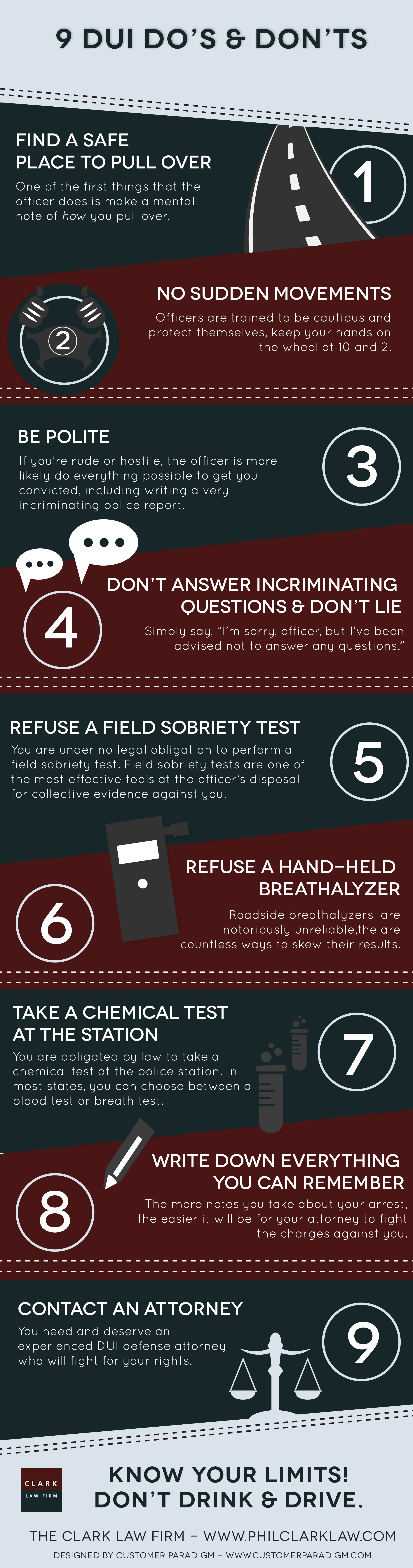 9 Tips If You Get Pulled Over For a DUI Infographic